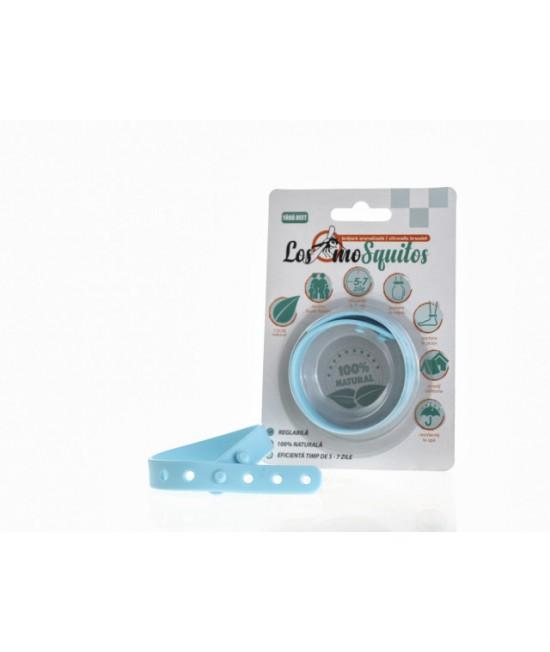 Brățară anti-țânțari aromatizată reglabilă din silicon Los moSquitos - albastră
