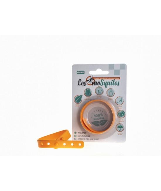 Brățară anti-țânțari aromatizată reglabilă din silicon Los moSquitos - portocalie