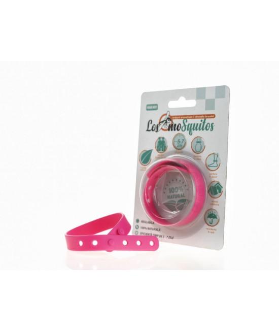 Brățară anti-țânțari aromatizată reglabilă din silicon Los moSquitos - roz