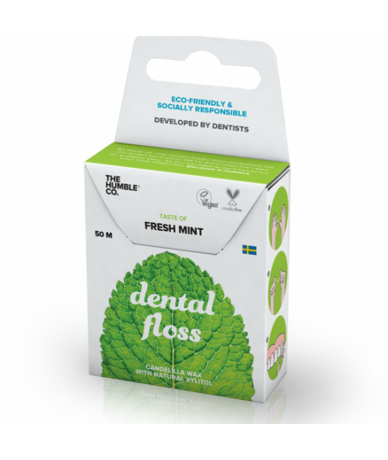 Ață dentară naturală biodegradabilă Humble Fresh Mint - 50m