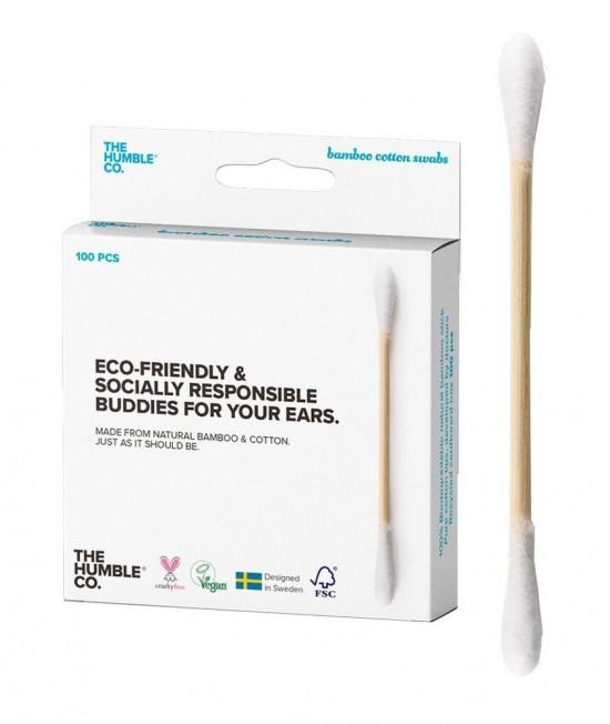 Bețișoare din bambus și bumbac alb organic Humble pentru urechi - 100 bucăți biodegradabile