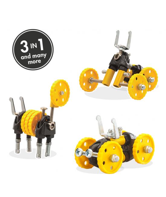 BlazeBit - 3 în 1 Yellow Vehicle Kit The OFFBITS - set de construit cu șuruburi și piulițe