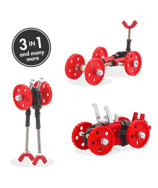 FormulaBit - 3 în 1 Red Vehicle Kit The OFFBITS - set de construit cu șuruburi și piulițe