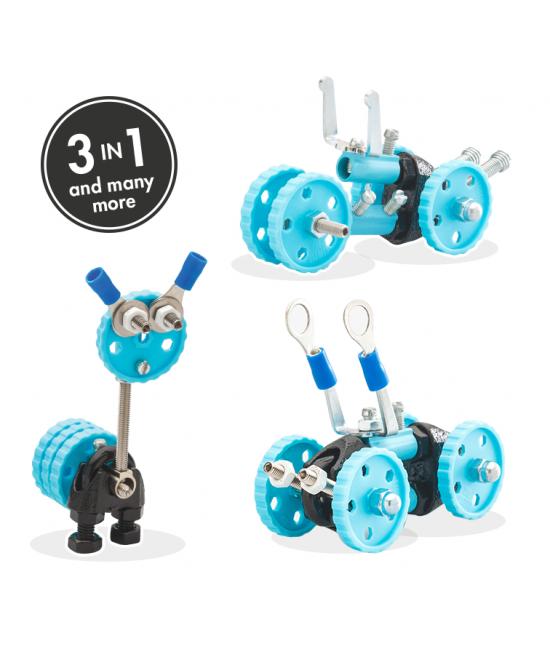GearBit - 3 în 1 Blue Vehicle Kit The OFFBITS - set de construit cu șuruburi și piulițe