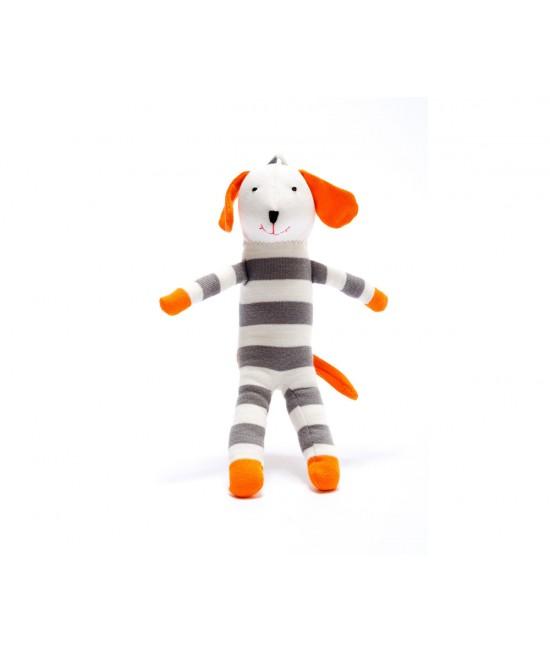 Jucărie din bumbac organic Cățel portocaliu cu dungi albe-gri Under the Nile
