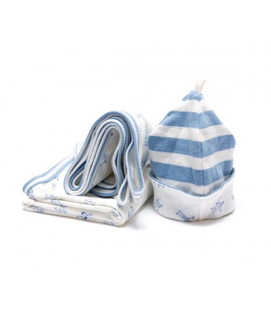 Set cadou: o pătură + o căciuliță fes albastră pentru nou-născuți din bumbac organic Under the Nile