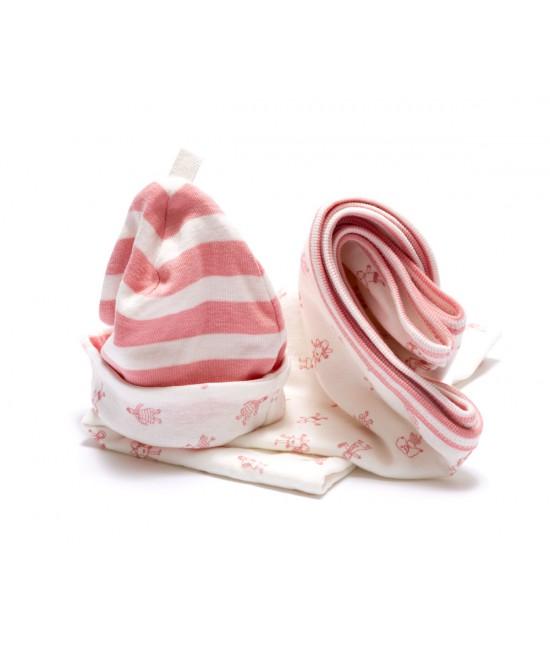 Set cadou: o pătură + o căciuliță fes roz pentru nou-născuți din bumbac organic Under the Nile