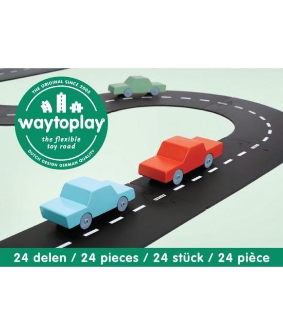 Traseu waytoplay Autostradă - 24 piese de cauciuc pentru joacă cu mașinuțe