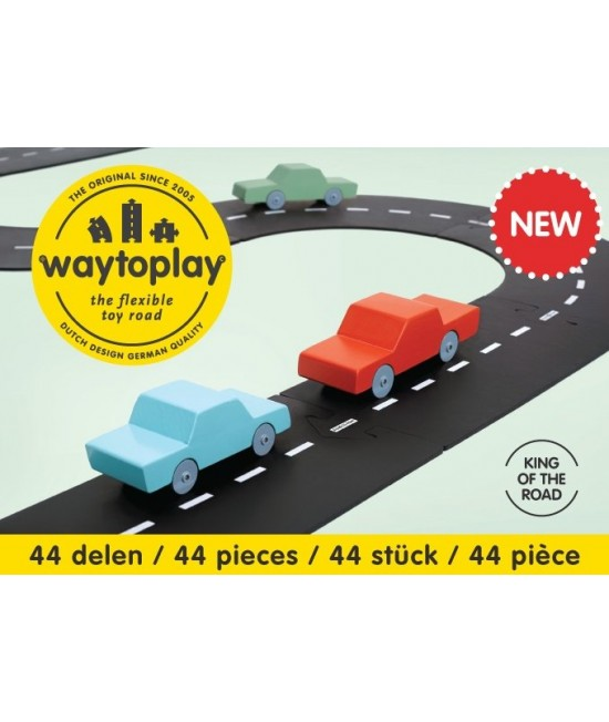 Traseu waytoplay King of The Road - 44 piese de cauciuc pentru joacă cu mașinuțe
