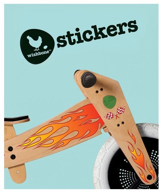 Autocolant decorativ pentru bicicleta Wishbone de lemn - Flames (flăcări)