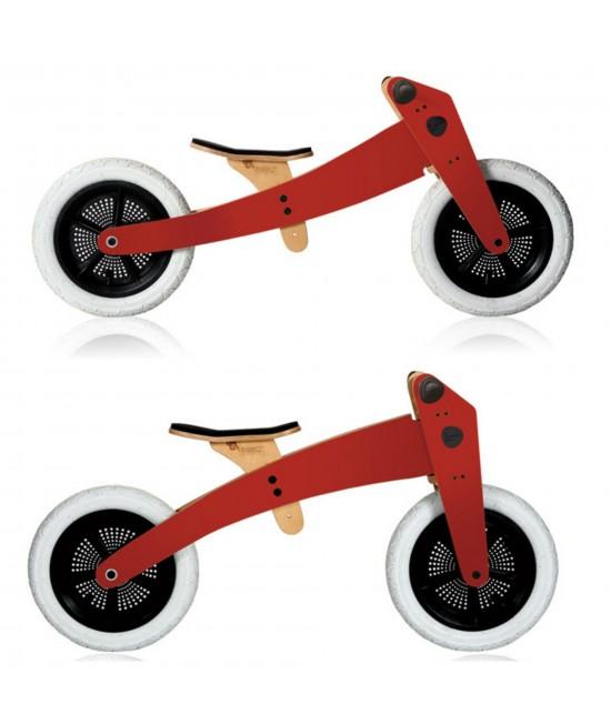 Bicicleta de echilibru Wishbone Design Red 2-în-1 (bicicletă din lemn fără pedale cu 2 roți)