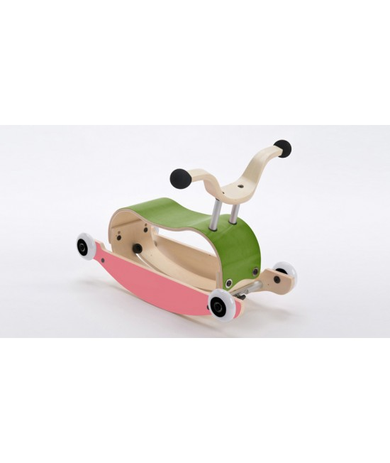 Wishbone Mini-Flip - antemergător / mașină de călărit / balansoar din lemn - Verde cu roz și roți albe