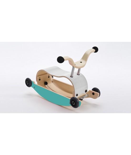 Wishbone Mini-Flip - antemergător / mașină de călărit / balansoar din lemn - Alb cu albastru