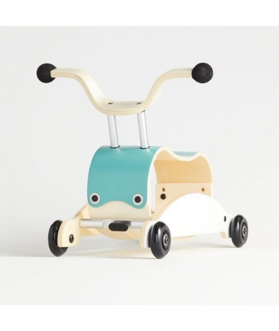 Wishbone Mini-Flip - antemergător / mașină de călărit / balansoar din lemn - Albastru cu alb