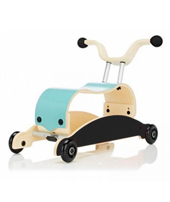 Wishbone Mini-Flip - antemergător / mașină de călărit / balansoar din lemn - Albastru cu negru