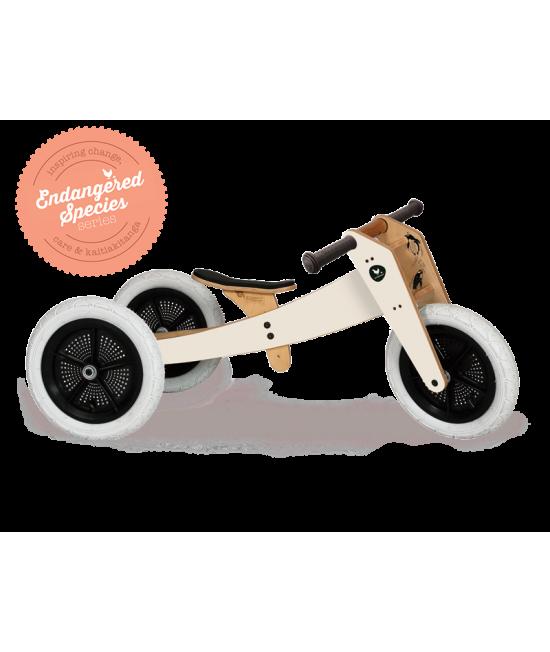 Bicicletă de echilibru Wishbone Design 3-în-1 Penguin ediție limitată Endagered Species (bicicletă din lemn fără pedale)