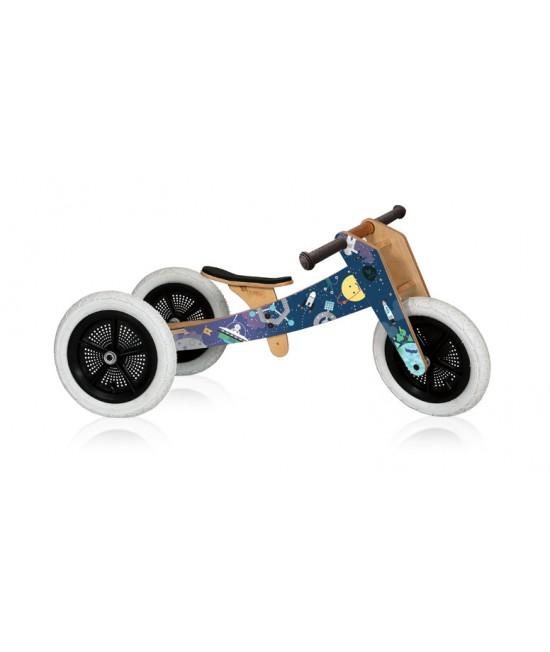 Bicicleta de echilibru Wishbone Design 3-în-1 - ediţie limitată Space (bicicletă din lemn fără pedale)