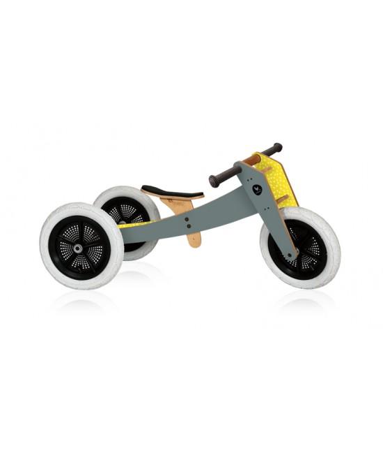 Bicicletă de echilibru Wishbone Design 3-în-1 Grey (bicicletă din lemn fără pedale)