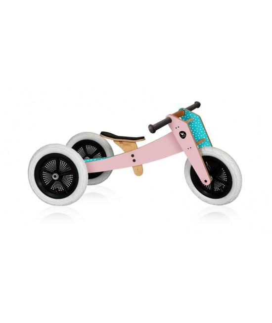 Bicicletă de echilibru Wishbone Design 3-în-1 Pink (bicicletă din lemn fără pedale)