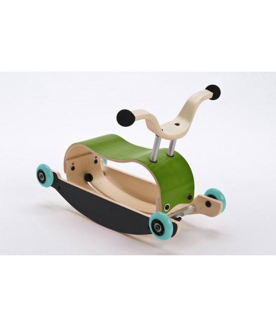 Wishbone Mini-Flip - antemergător / mașină de călărit / balansoar din lemn - Verde cu negru și roți turcoaz