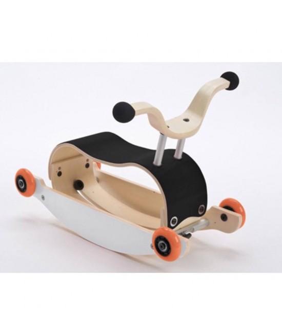 Wishbone Mini-Flip - antemergător / mașină de călărit / balansoar din lemn - Negru cu alb și roți portocalii