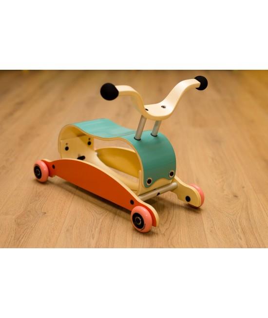 Wishbone Mini-Flip - antemergător / mașină de călărit / balansoar din lemn - Turcoaz cu portocaliu cu roți roz