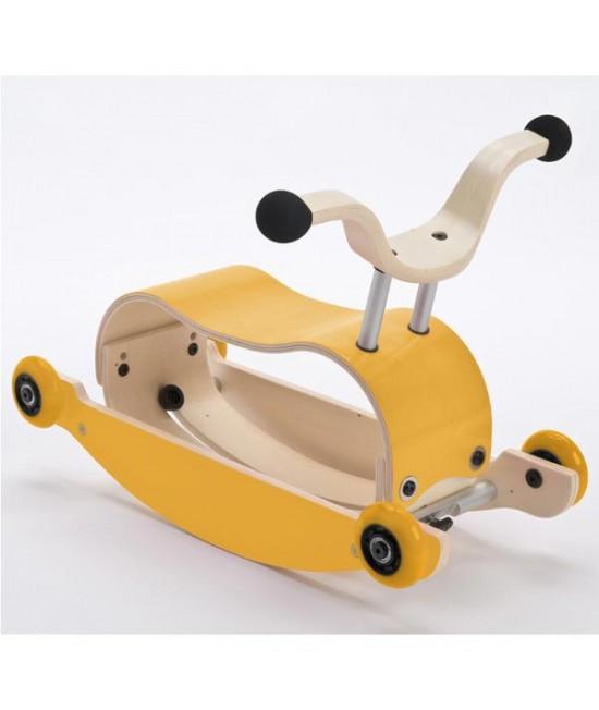 Wishbone Mini-Flip - antemergător / mașină de călărit / balansoar din lemn - Galben