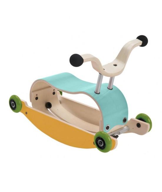 Wishbone Mini-Flip - antemergător / mașină de călărit / balansoar din lemn - Turcoaz cu galben
