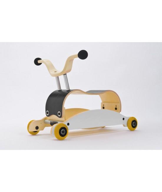 Wishbone Mini-Flip - antemergător / mașină de călărit / balansoar din lemn - Negru cu alb și roți galbene
