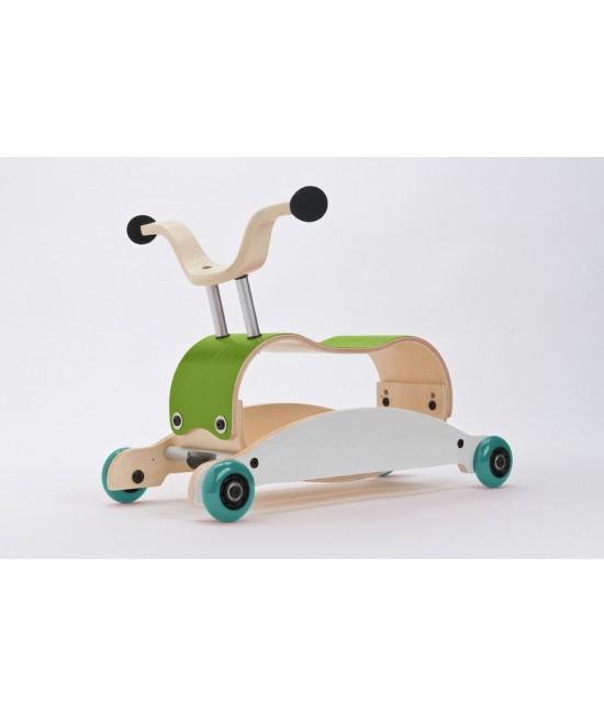 Wishbone Mini-Flip - antemergător / mașină de călărit / balansoar din lemn - Verde cu alb