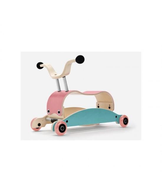 Wishbone Mini-Flip - antemergător / mașină de călărit / balansoar din lemn - Roz cu turcoaz