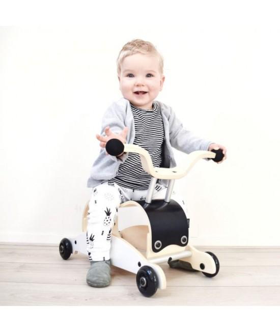 Wishbone Mini-Flip - antemergător / mașină de călărit / balansoar din lemn - Negru cu alb și roți negre