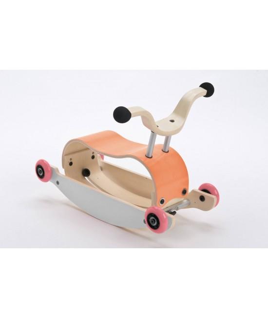 Wishbone Mini-Flip - antemergător / mașină de călărit / balansoar din lemn - Portocaliu cu alb și roți roz