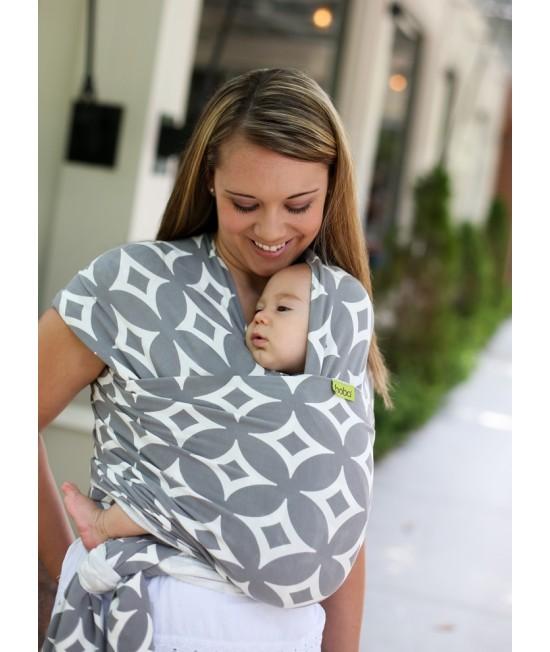 Wrap elastic pentru purtarea bebelușilor Boba Stardust (gri cu model)